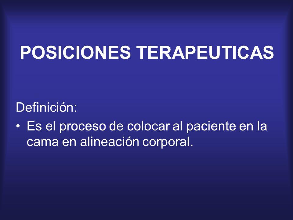 POSICIONES TERAPEUTICAS Definición: Es el proceso de colocar al paciente en la cama en alineación corporal.