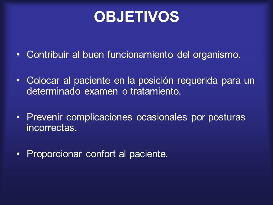 OBJETIVOS Contribuir al buen funcionamiento del organismo. Colocar al paciente en la posición requerida para un determinado examen o tratamiento. Prev