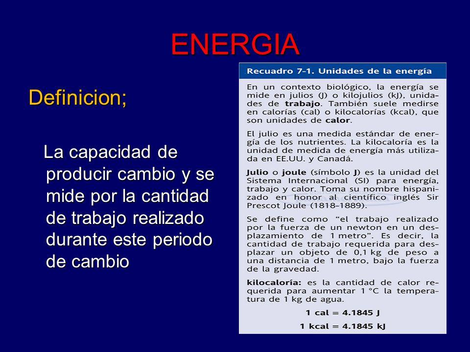 ENERGIA Definicion; La capacidad de producir cambio y se mide por la cantidad de trabajo realizado durante este periodo de cambio La capacidad de prod