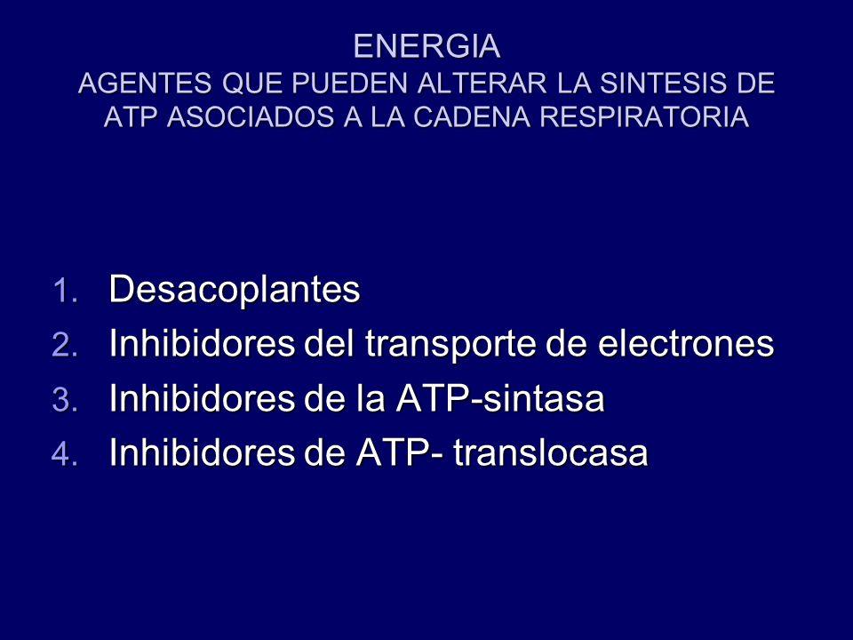 ENERGIA AGENTES QUE PUEDEN ALTERAR LA SINTESIS DE ATP ASOCIADOS A LA CADENA RESPIRATORIA 1. Desacoplantes 2. Inhibidores del transporte de electrones