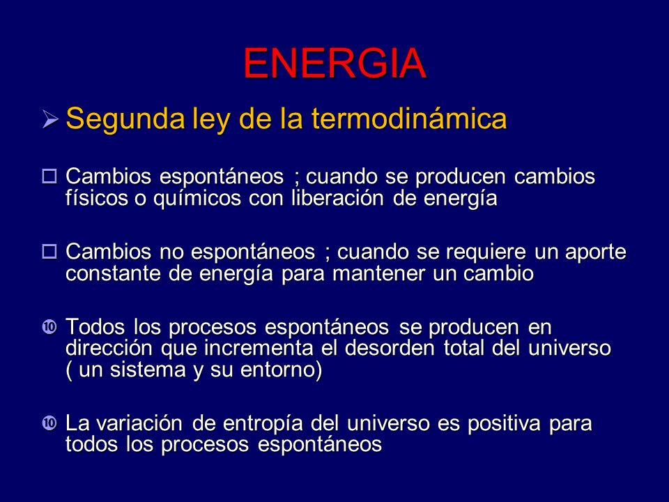 ENERGIA Segunda ley de la termodinámica Segunda ley de la termodinámica Cambios espontáneos ; cuando se producen cambios físicos o químicos con libera