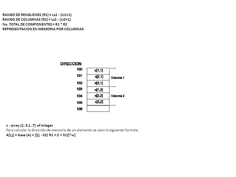 REPRESENTACION EN MEMORIA POR RENGLONES x : array [1..5,1..7] of integer Para calcular la dirección de memoria de un elemento se usan la siguiente formula: A[i,j] = base (A) + [((i - li1) R2 + (j + li2))*w] donde: i = Indice del renglón a calcular j = Indice de la columna a calcular li1 = Límite inferior de renglones li2 = Límite inferior de columnas w = Número de bytes tipo componente