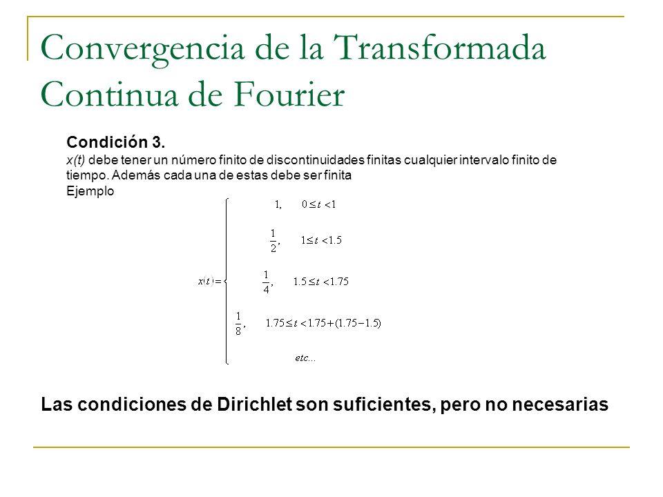 Convergencia de la Transformada Continua de Fourier Las condiciones de Dirichlet son suficientes, pero no necesarias Condición 3. x(t) debe tener un n