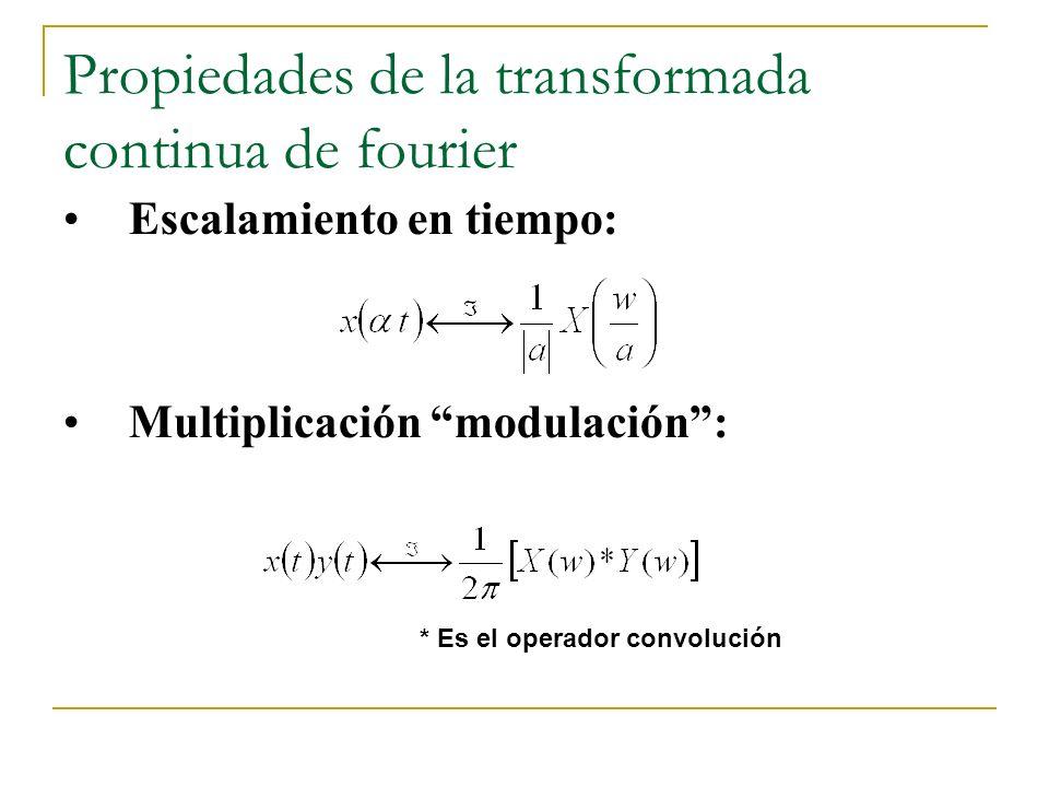 Propiedades de la transformada continua de fourier Escalamiento en tiempo: Multiplicación modulación: * Es el operador convolución
