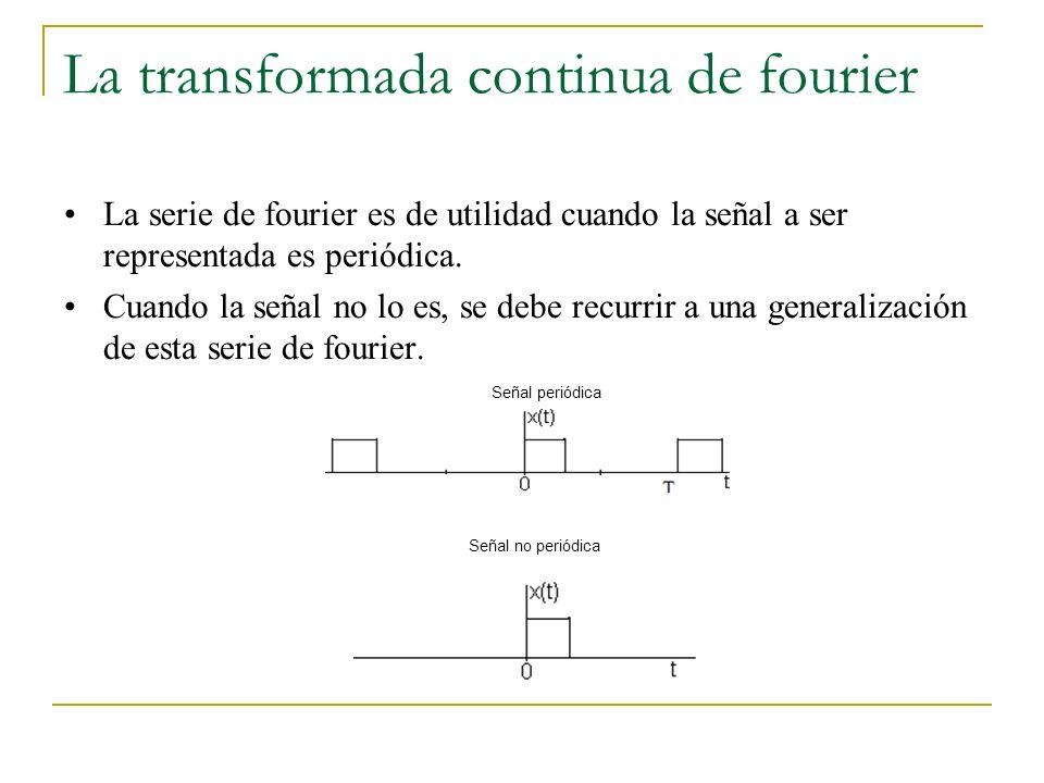 La transformada continua de fourier La serie de fourier es de utilidad cuando la señal a ser representada es periódica. Cuando la señal no lo es, se d