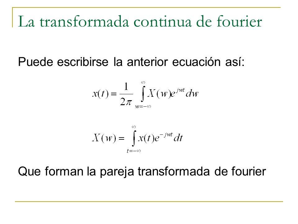 La transformada continua de fourier Puede escribirse la anterior ecuación así: Que forman la pareja transformada de fourier