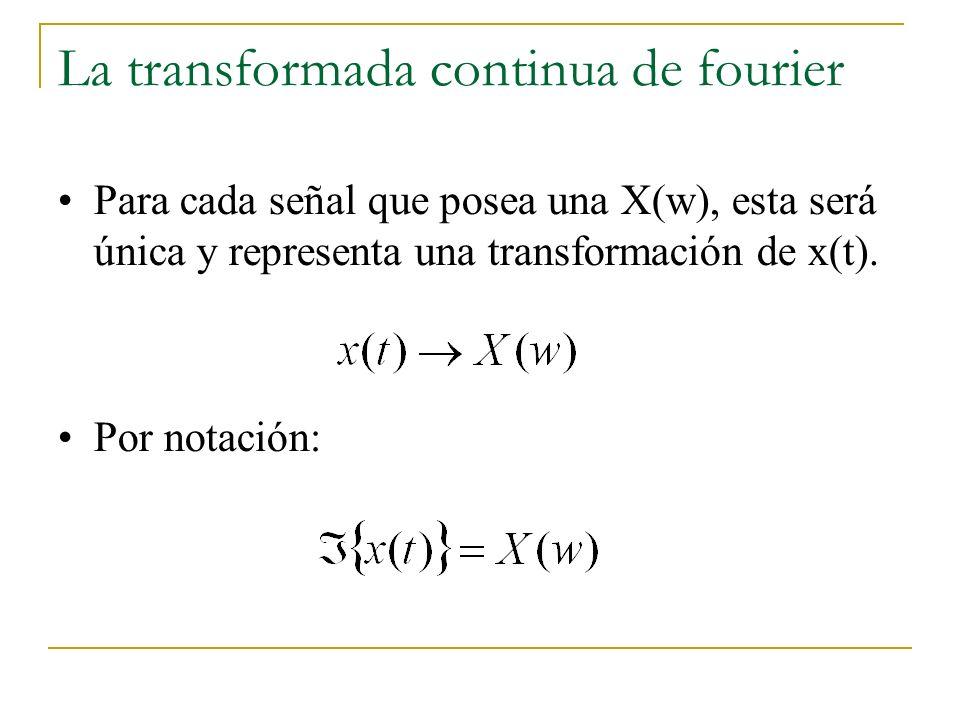 La transformada continua de fourier Para cada señal que posea una X(w), esta será única y representa una transformación de x(t). Por notación: