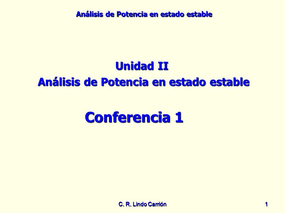 Análisis de Potencia en estado estable C. R. Lindo Carrión11 Unidad II Análisis de Potencia en estado estable Conferencia 1
