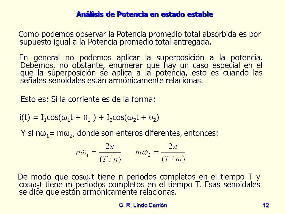 Análisis de Potencia en estado estable C. R. Lindo Carrión12 Como podemos observar la Potencia promedio total absorbida es por supuesto igual a la Pot