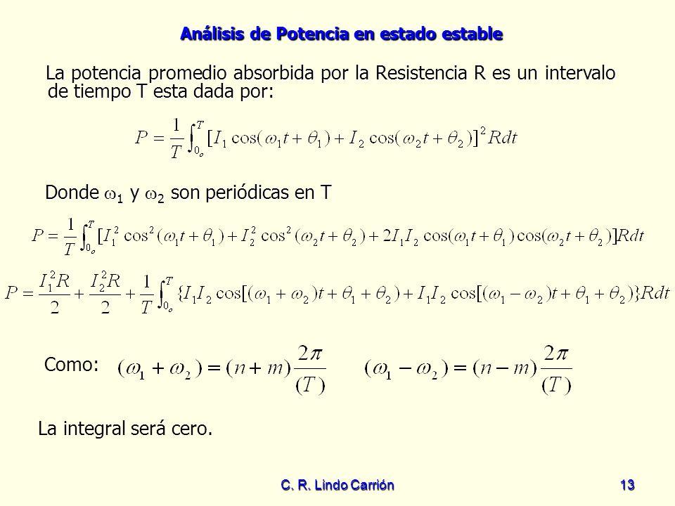 Análisis de Potencia en estado estable C. R. Lindo Carrión13 La potencia promedio absorbida por la Resistencia R es un intervalo de tiempo T esta dada