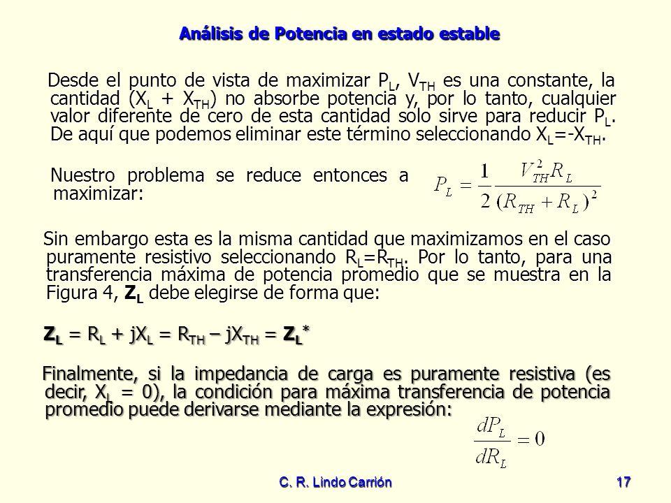 Análisis de Potencia en estado estable C. R. Lindo Carrión17 Desde el punto de vista de maximizar P L, V TH es una constante, la cantidad (X L + X TH