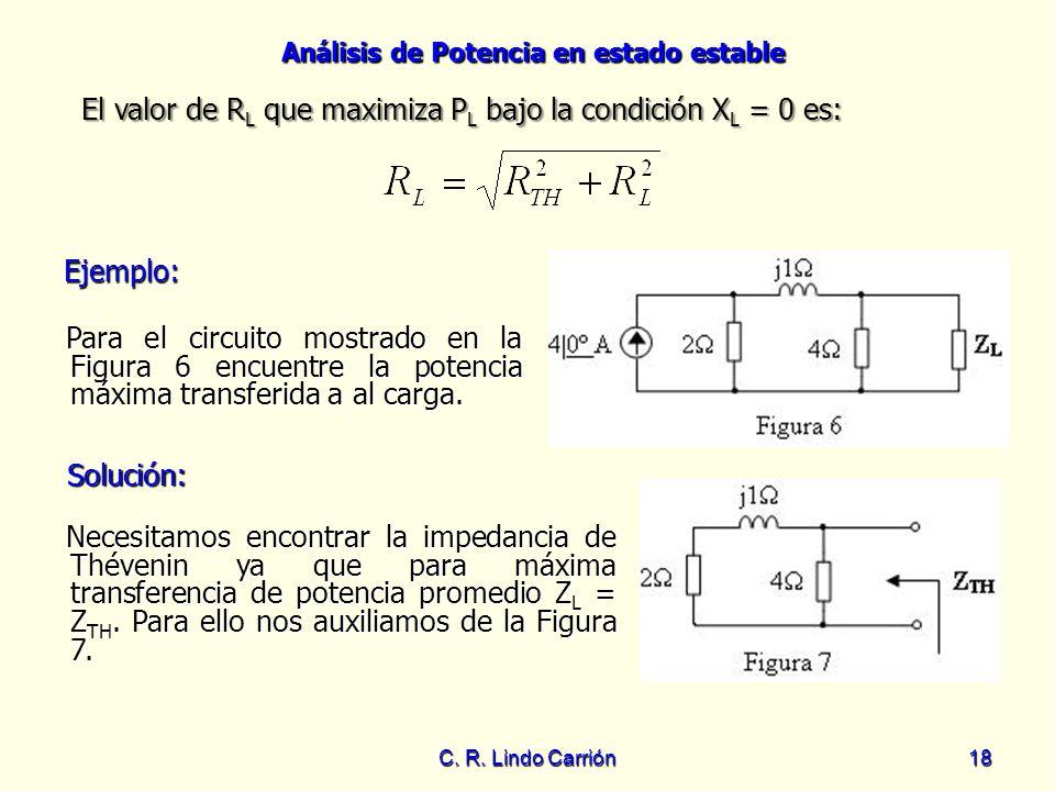 Análisis de Potencia en estado estable C. R. Lindo Carrión18 Ejemplo: Ejemplo: Para el circuito mostrado en la Figura 6 encuentre la potencia máxima t