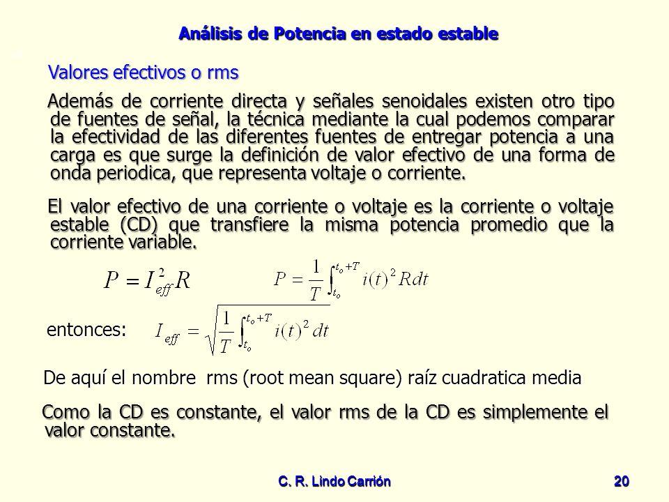 Análisis de Potencia en estado estable C. R. Lindo Carrión20 C. R. Lindo Carrión 20 Valores efectivos o rms Valores efectivos o rms Además de corrient
