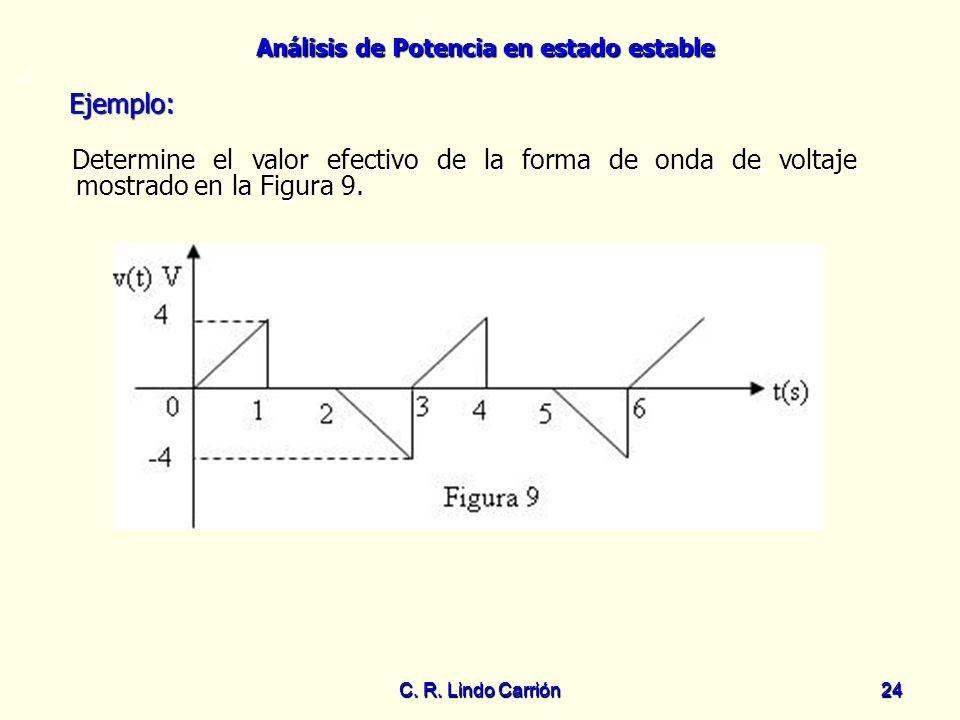 Análisis de Potencia en estado estable C. R. Lindo Carrión24 C. R. Lindo Carrión 24 =0 Determine el valor efectivo de la forma de onda de voltaje most