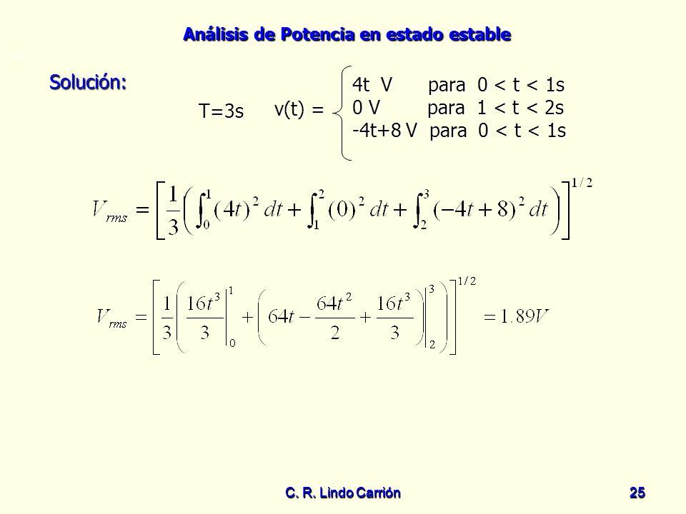 Análisis de Potencia en estado estable C. R. Lindo Carrión25 C. R. Lindo Carrión 25 Solución: Solución: T=3s =0 v(t) = 4t V para 0 < t < 1s 0 V para 1