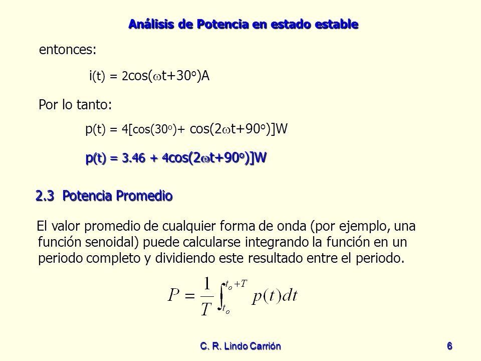 Análisis de Potencia en estado estable C. R. Lindo Carrión6 entonces: Por lo tanto: Por lo tanto: i (t) = 2 cos( t+30 o )A El valor promedio de cualqu
