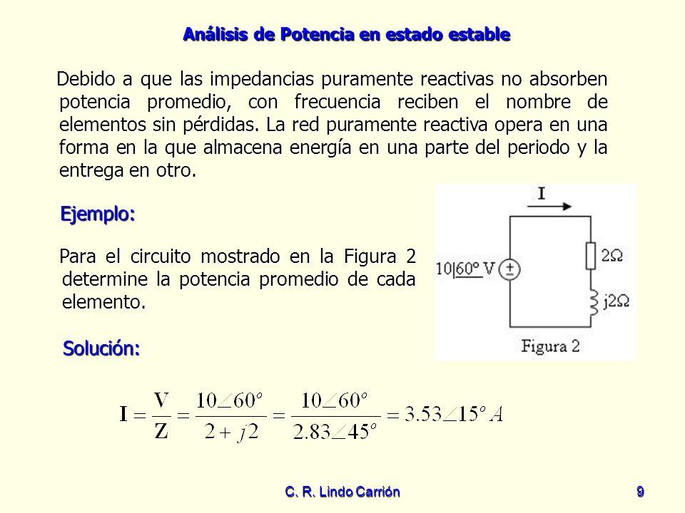 Análisis de Potencia en estado estable C. R. Lindo Carrión9 Debido a que las impedancias puramente reactivas no absorben potencia promedio, con frecue