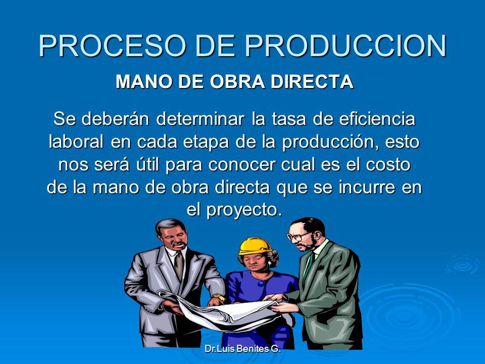 PROCESO DE PRODUCCION MANO DE OBRA DIRECTA Se deberán determinar la tasa de eficiencia laboral en cada etapa de la producción, esto nos será útil para