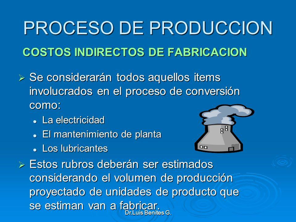 PROCESO DE PRODUCCION COSTOS INDIRECTOS DE FABRICACION Se considerarán todos aquellos items involucrados en el proceso de conversión como: Se consider