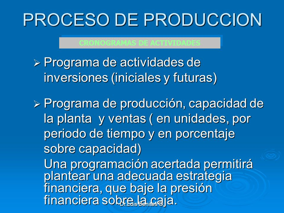 PROCESO DE PRODUCCION Programa de actividades de inversiones (iniciales y futuras) Programa de actividades de inversiones (iniciales y futuras) Progra
