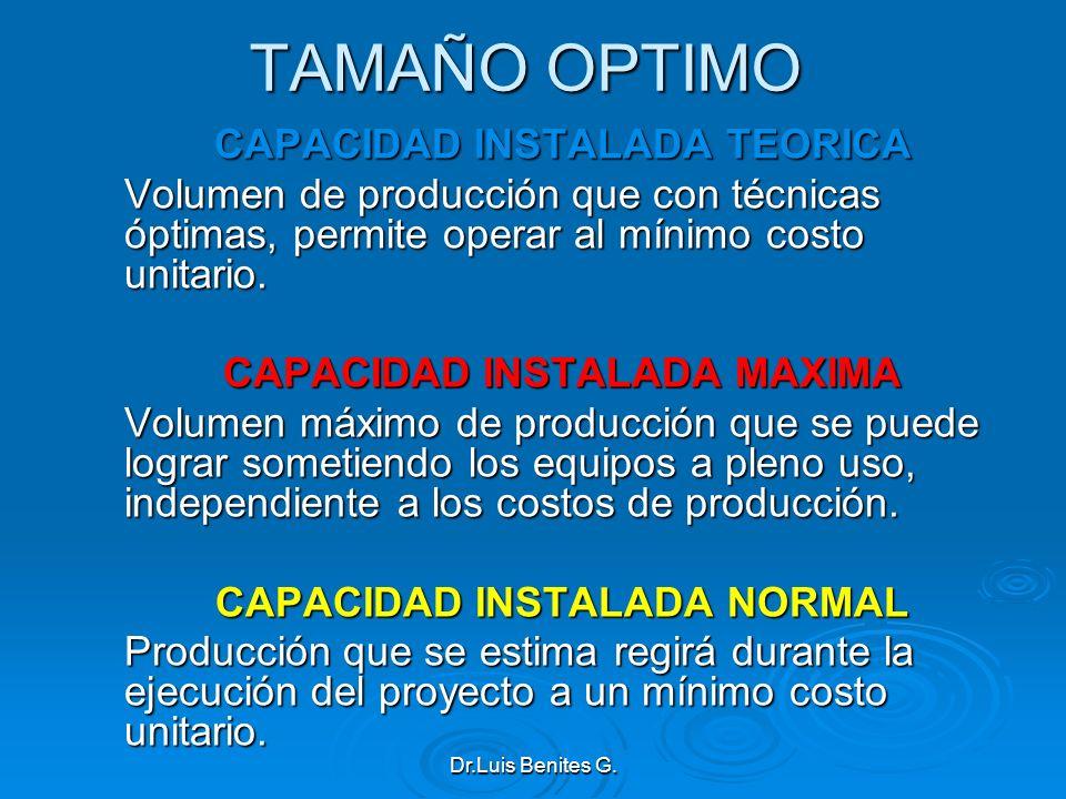 TAMAÑO OPTIMO CAPACIDAD INSTALADA TEORICA Volumen de producción que con técnicas óptimas, permite operar al mínimo costo unitario. CAPACIDAD INSTALADA