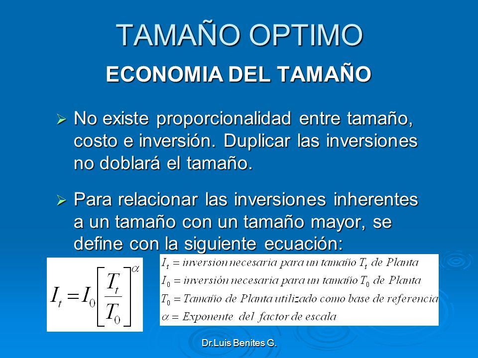 TAMAÑO OPTIMO ECONOMIA DEL TAMAÑO No existe proporcionalidad entre tamaño, costo e inversión. Duplicar las inversiones no doblará el tamaño. No existe