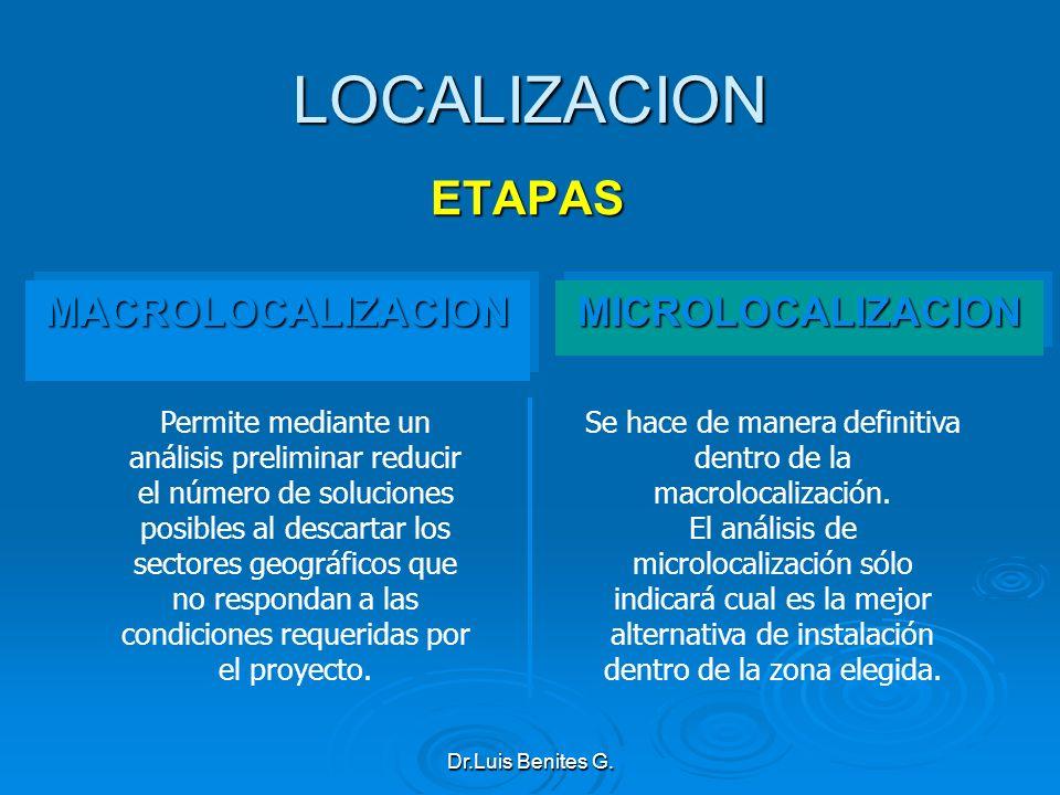 LOCALIZACION ETAPAS MACROLOCALIZACIONMACROLOCALIZACIONMICROLOCALIZACIONMICROLOCALIZACION Se hace de manera definitiva dentro de la macrolocalización.
