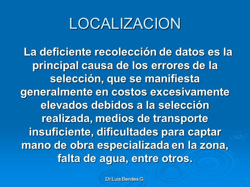 LOCALIZACION La deficiente recolección de datos es la principal causa de los errores de la selección, que se manifiesta generalmente en costos excesiv