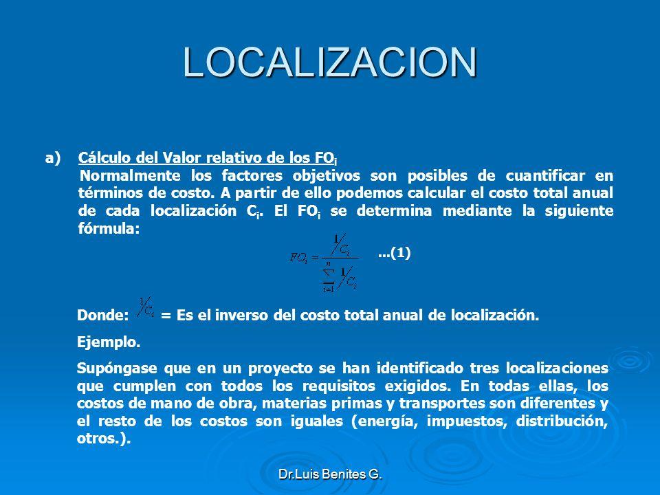 LOCALIZACION a)Cálculo del Valor relativo de los FO i Normalmente los factores objetivos son posibles de cuantificar en términos de costo. A partir de