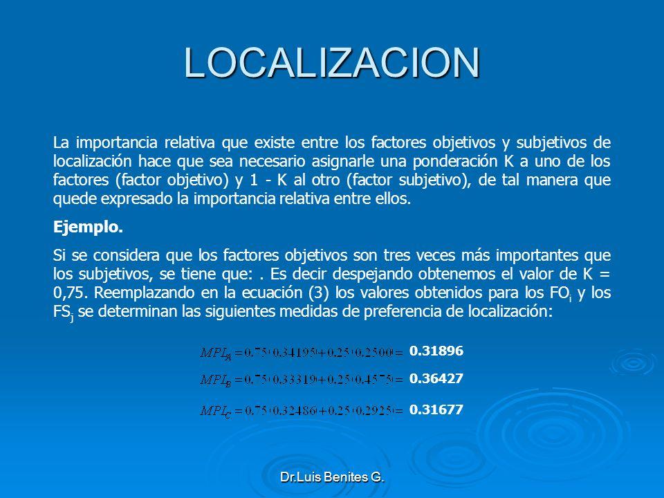 LOCALIZACION La importancia relativa que existe entre los factores objetivos y subjetivos de localización hace que sea necesario asignarle una pondera
