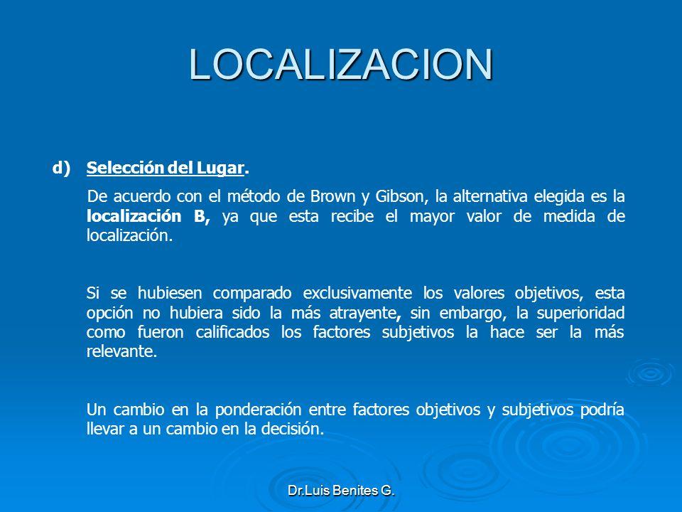 LOCALIZACION d)Selección del Lugar. De acuerdo con el método de Brown y Gibson, la alternativa elegida es la localización B, ya que esta recibe el may