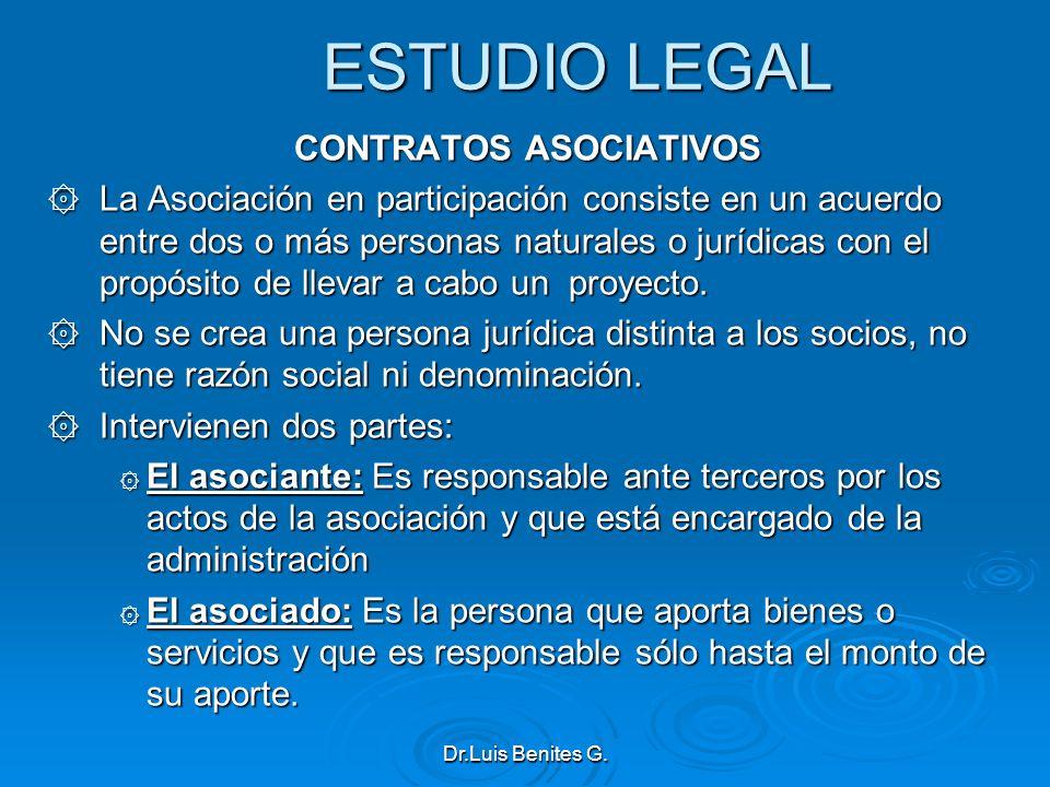 ESTUDIO LEGAL CONTRATOS ASOCIATIVOS ۞ La Asociación en participación consiste en un acuerdo entre dos o más personas naturales o jurídicas con el prop