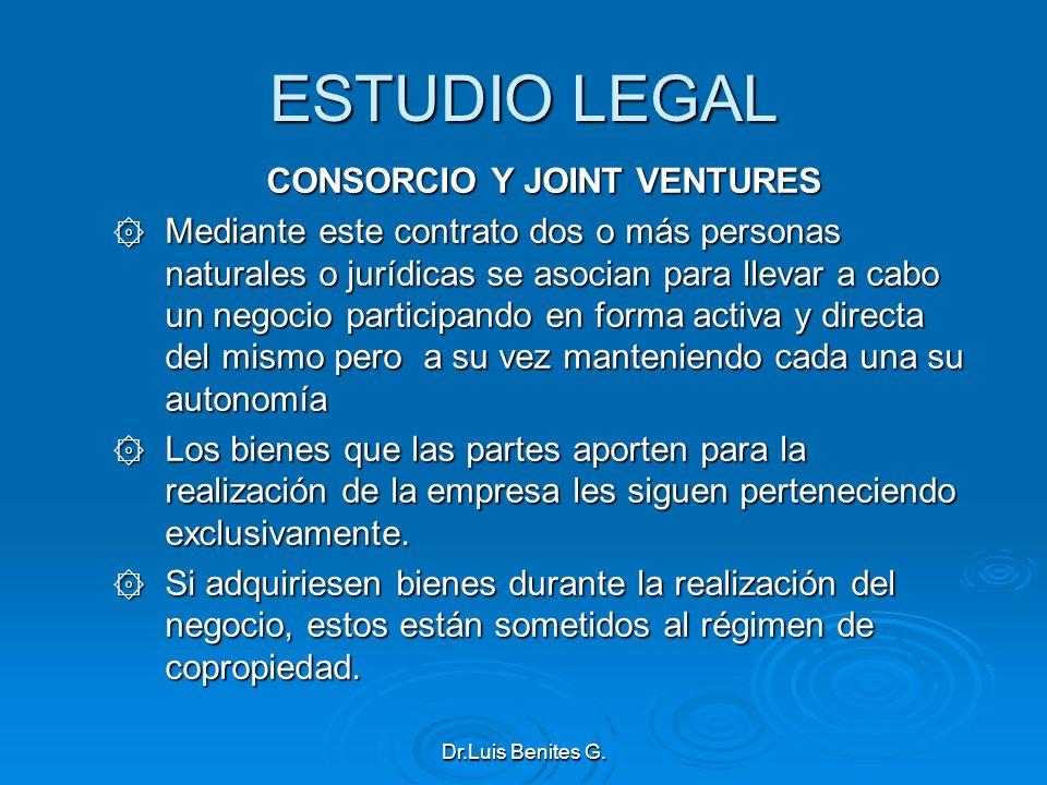 ESTUDIO LEGAL CONSORCIO Y JOINT VENTURES ۞ Mediante este contrato dos o más personas naturales o jurídicas se asocian para llevar a cabo un negocio pa
