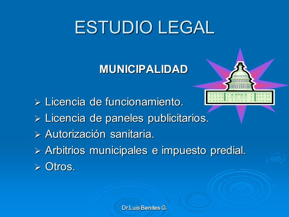 ESTUDIO LEGAL MUNICIPALIDAD Licencia de funcionamiento. Licencia de funcionamiento. Licencia de paneles publicitarios. Licencia de paneles publicitari
