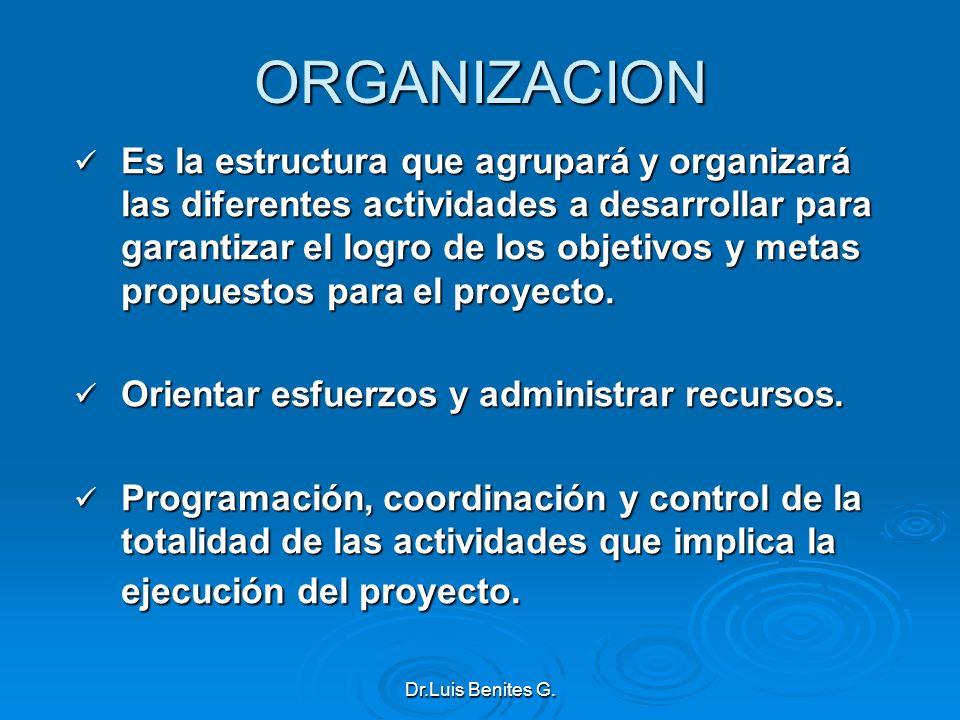 ORGANIZACION Es la estructura que agrupará y organizará las diferentes actividades a desarrollar para garantizar el logro de los objetivos y metas pro