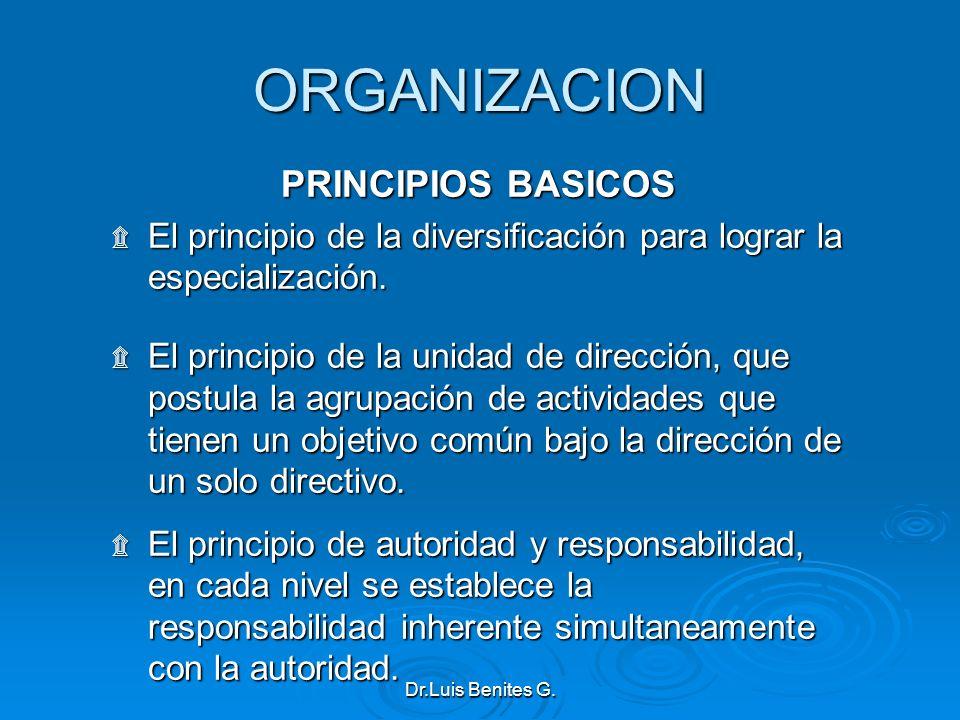 ORGANIZACION PRINCIPIOS BASICOS ۩ El principio de la diversificación para lograr la especialización. ۩ El principio de la unidad de dirección, que pos