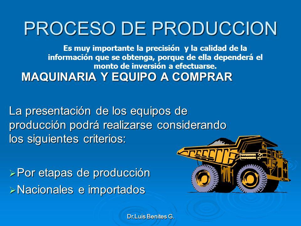 PROCESO DE PRODUCCION MAQUINARIA Y EQUIPO A COMPRAR La presentación de los equipos de producción podrá realizarse considerando los siguientes criterio