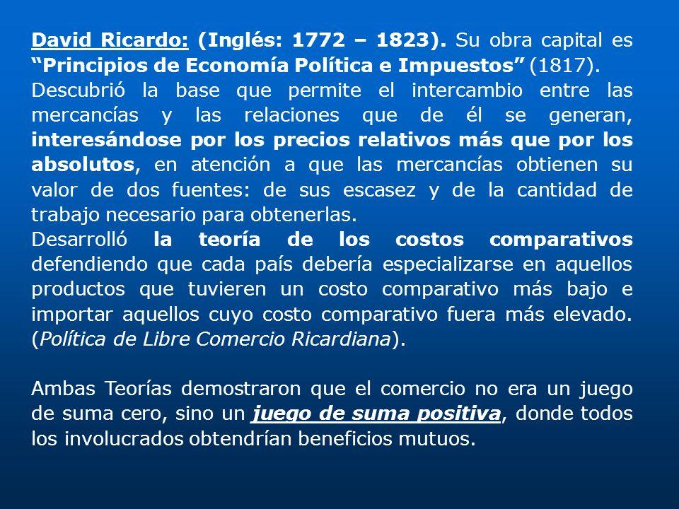 David Ricardo: (Inglés: 1772 – 1823). Su obra capital es Principios de Economía Política e Impuestos (1817). Descubrió la base que permite el intercam