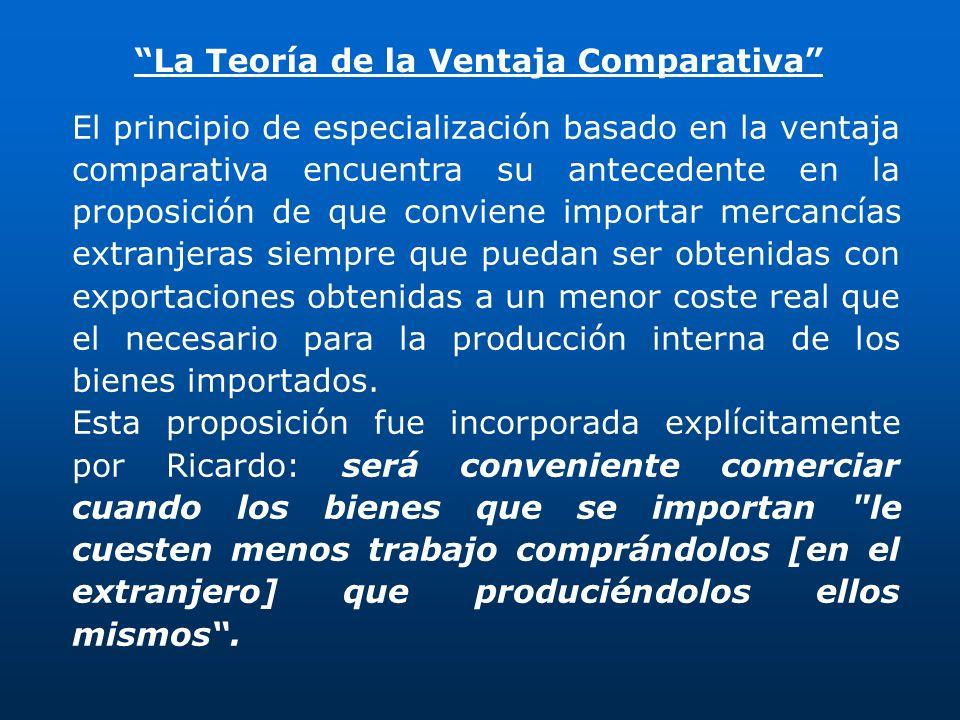 El principio de especialización basado en la ventaja comparativa encuentra su antecedente en la proposición de que conviene importar mercancías extran