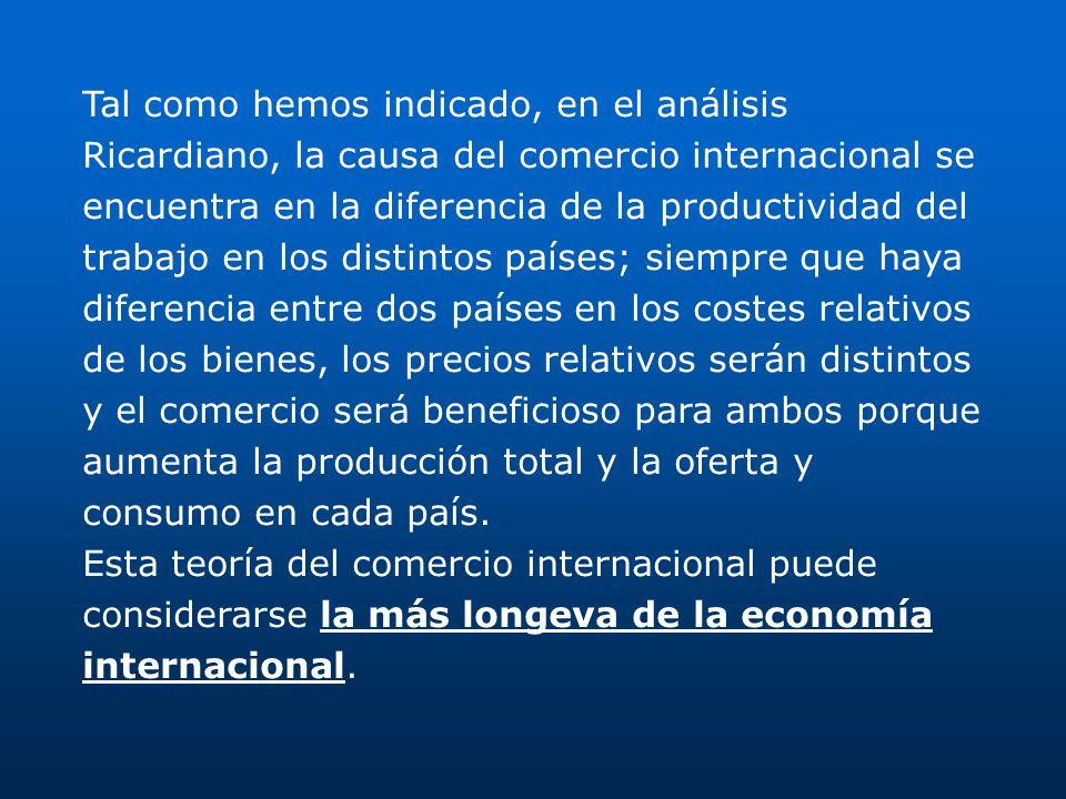 Tal como hemos indicado, en el análisis Ricardiano, la causa del comercio internacional se encuentra en la diferencia de la productividad del trabajo