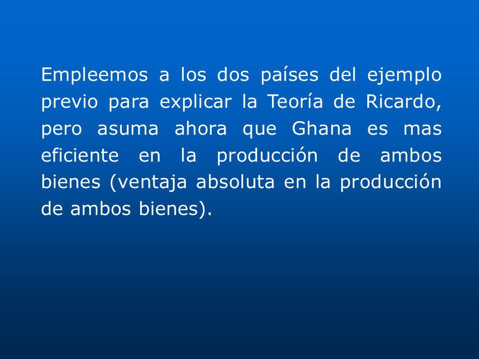 Empleemos a los dos países del ejemplo previo para explicar la Teoría de Ricardo, pero asuma ahora que Ghana es mas eficiente en la producción de ambo