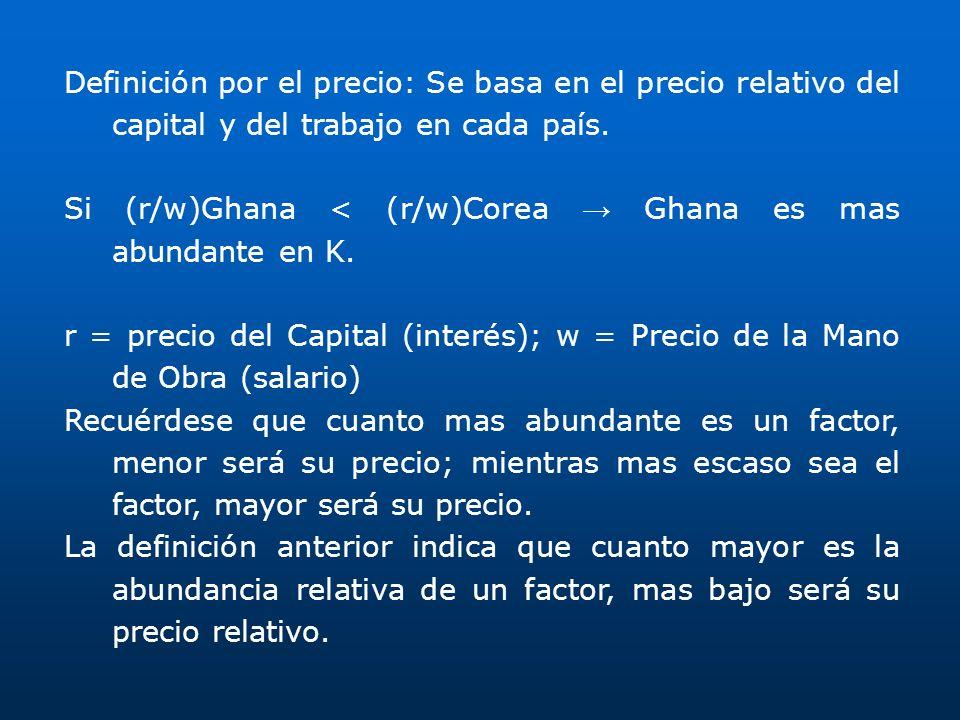 Definición por el precio: Se basa en el precio relativo del capital y del trabajo en cada país. Si (r/w)Ghana < (r/w)Corea Ghana es mas abundante en K
