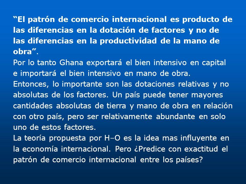 El patrón de comercio internacional es producto de las diferencias en la dotación de factores y no de las diferencias en la productividad de la mano d