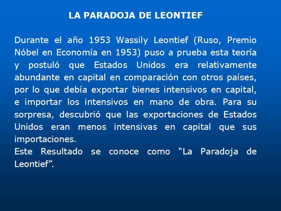 LA PARADOJA DE LEONTIEF Durante el año 1953 Wassily Leontief (Ruso, Premio Nóbel en Economía en 1953) puso a prueba esta teoría y postuló que Estados