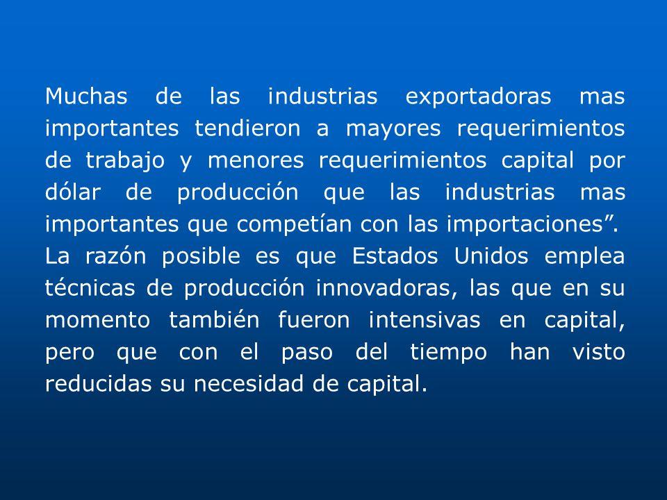 Muchas de las industrias exportadoras mas importantes tendieron a mayores requerimientos de trabajo y menores requerimientos capital por dólar de prod