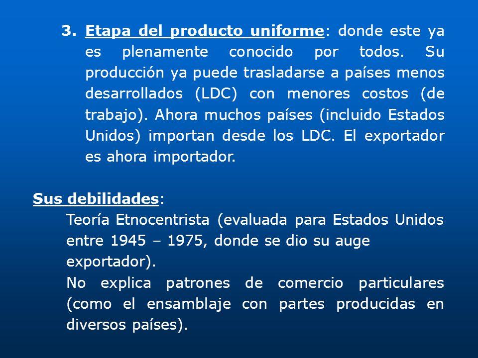 3.Etapa del producto uniforme: donde este ya es plenamente conocido por todos. Su producción ya puede trasladarse a países menos desarrollados (LDC) c