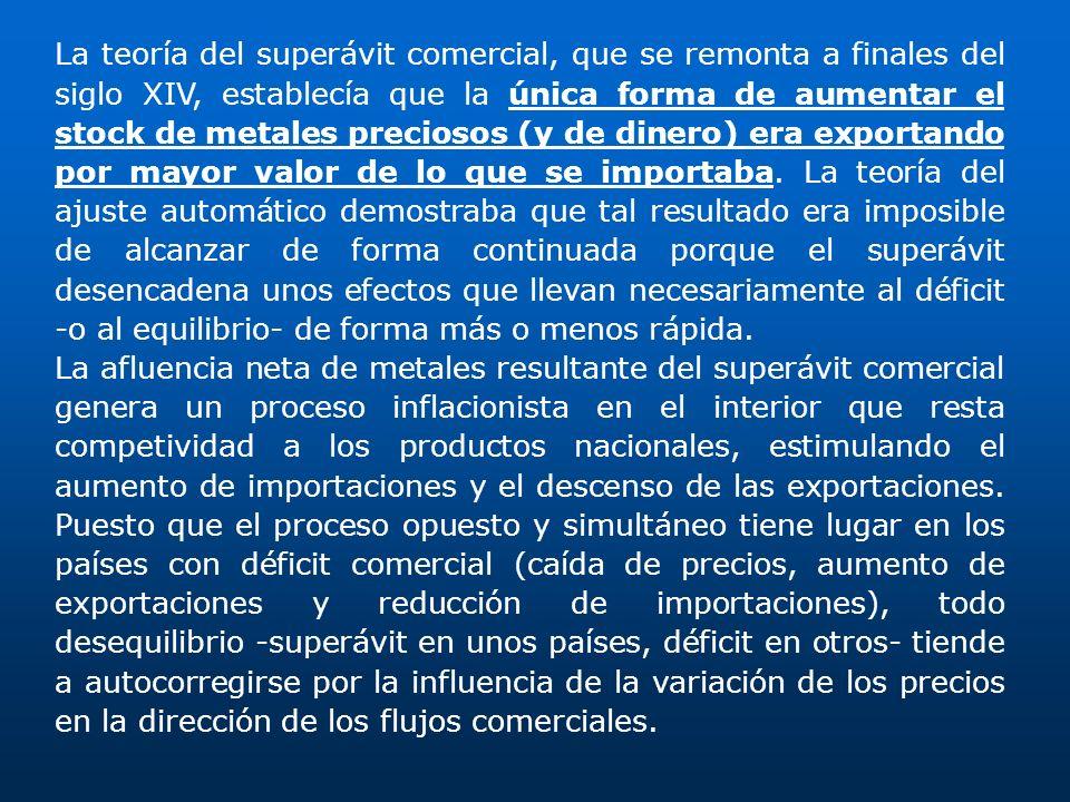 La teoría del superávit comercial, que se remonta a finales del siglo XIV, establecía que la única forma de aumentar el stock de metales preciosos (y