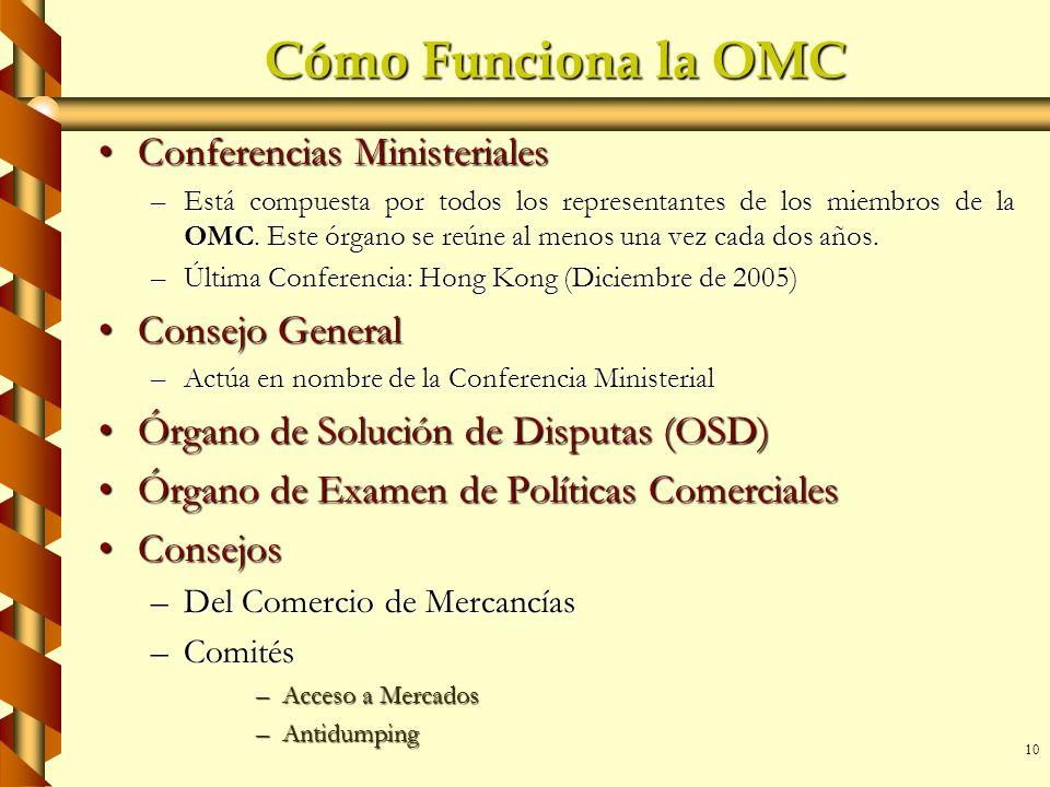 10 Cómo Funciona la OMC Conferencias MinisterialesConferencias Ministeriales –Está compuesta por todos los representantes de los miembros de la OMC. E