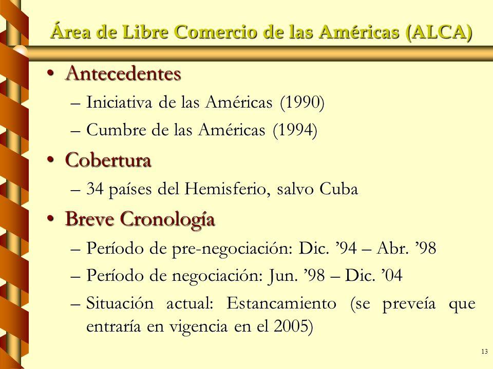 13 Área de Libre Comercio de las Américas (ALCA) AntecedentesAntecedentes –Iniciativa de las Américas (1990) –Cumbre de las Américas (1994) CoberturaC