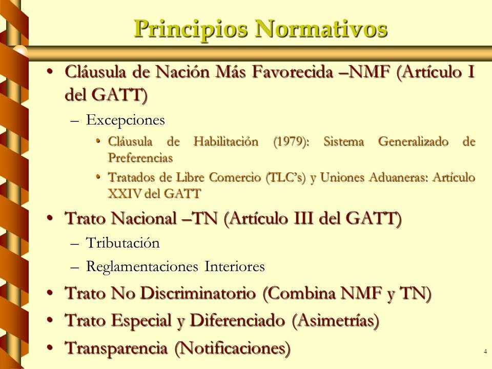 4 Principios Normativos Cláusula de Nación Más Favorecida –NMF (Artículo I del GATT)Cláusula de Nación Más Favorecida –NMF (Artículo I del GATT) –Exce